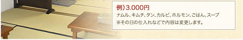例)3.000円ナムル、キムチ、タン、カルビ、ホルモン、ごはん、スープ※その日の仕入れなどで内容は変更します。